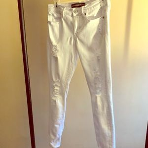 Express White tattered midrise jeans